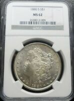1880-S  MORGAN DOLLAR NGC MINT STATE 62  END OF THE ROLL TAPE MARK