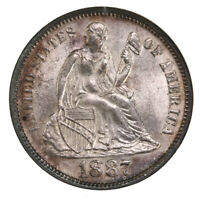 1887 SEATED LIBERTY 10C NGC CERTIFIED MINT STATE 63