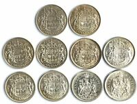LOT OF 10 CANADIAN HALF DOLLARS   50 CENT COINS   80  SILVER