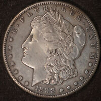 1888 S MORGAN DOLLAR, ALMOST UNCIRCULATED DETAILS, CLEANED, FREE SHIP, C4636
