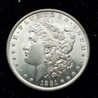 1891-S MORGAN SILVER DOLLAR.   AND LUSTROUS BRILLIANT UNCIRCULATED