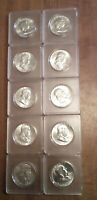 10   1963 P AND D  UNCIRCULATED 90  SILVER  FRANKLIN HALVES