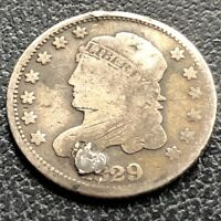 1829 CAPPED BUST HALF DIME 5C CIRCULATED PLUGGED 21775