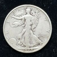 1928 S WALKING LIBERTY HALF, ORIGINAL, PROBLEM FREE, TOUGH DATE FINE-VF