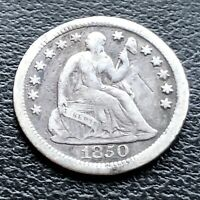 1850 O SEATED LIBERTY HALF DIME 5C HIGHER GRADE VF 22927