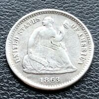 1863 S SEATED LIBERTY HALF DIME 5C BETTER GRADE 22931