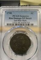 1798 DRAPED BUST LARGE CENT   S 187        CERTIFIED PCGS XF