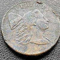 1794 LARGE CENT LIBERTY CAP FLOWING HAIR ONE CENT BETTER GRADE VF DETAILS 22591