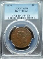 1839 UNITED STATES LARGE CENT BOOBY HEAD PCGS XF40