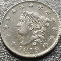 1819 LARGE CENT CORONET HEAD ONE CENT 1C HIGH GRADE XF   AU 22633