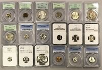 18  GRADED COINS US CENTS   NGC PCGS   PENNY NICKEL DIME QU