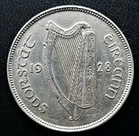 IRELAND  EXCELLENT KEY YEAR  1928  IRISH FREE STATE  FLORIN  75 SILVER