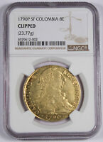 COLOMBIA 1790 P SF 8 ESCUDOS GOLD COIN NGC GRADED KM 53.2 CHARLES III