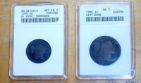 TWO ANACS 1795 BUST CAP HALF CENT 1/2C LETTERED EDGE & 1795 LARGE 1C CENT AG 3