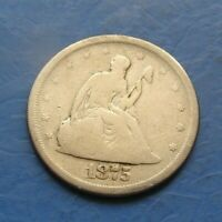 1875   S SEATED LIBERTY SILVER  TWENTY CENT PIECE