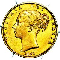 1847 QUEEN VICTORIA GREAT BRITAIN GOLD INVERTED 1 SOVEREIGN