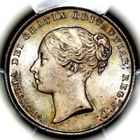1843 QUEEN VICTORIA GREAT BRITAIN SILVER SHILLING COIN PCGS