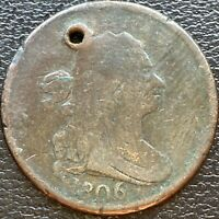1806 DRAPED BUST HALF CENT 1/2 CENT CIRCULATED HOLED 23923