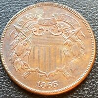 1865 TWO CENT PIECE 2C HIGH GRADE BU UNCIRCULATED DETAILS WITH LUSTER 24070