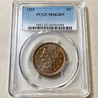 1852 BRAIDED HAIR LARGE CENT PCGS MINT STATE 62 BN.