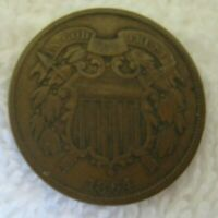 FULL VG  GOOD 1864 TWO CENT PIECE LARGE MOTTO, ROTATED 180 DEGREES