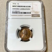 1916 LINCOLN CENT NGC MINT STATE 63BN OBV LAMINATION.
