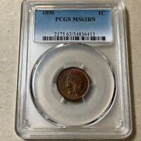 1890 INDIAN CENT PCGS MINT STATE 63BN   BETTER DATE
