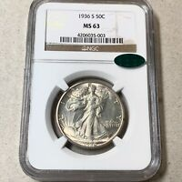 1936-S WALKING LIBERTY HALF   NGC MINT STATE 63 CAC.
