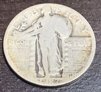 1927 S STANDING LIBERTY SILVER QUARTER DOLLAR SEMI KEY DATE - OLD US COIN