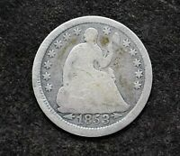 1853 SEATED LIBERTY HALF DIME U.S. SILVER 90 COIN TYPE 3 - ARROWS AT DATE