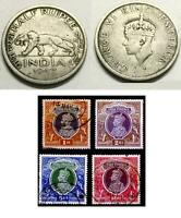 LOT 5PCS BRITISH INDIA KING GEORGE OLD ANTIQUE 1/2 RUPEE WW2 COIN  STAMPS SET