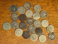 MIXED LOT OF SHIELD NICKELS   AMERICAS FIRST NICKEL   NO RES