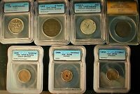 7 CERTIFIED WORLD COINS ICG AND ANACS GRADED COINS OF THE WO