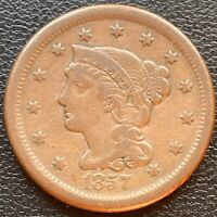 1857 LARGE CENT BRAIDED HAIR SMALL DATE  23966