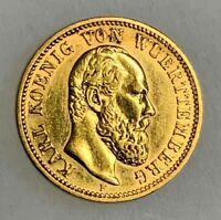 1877 F GERMAN STATES WURTTEMBERG GOLD COIN ABOUT UNCIRCULATE