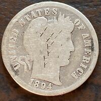1894 BARBER DIME 10C SILVER CIRCULATED 24387