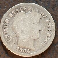 1894 BARBER DIME 10C SILVER CIRCULATED 24392