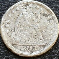 1851 O SEATED LIBERTY HALF DIME 5C BETTER GRADE EXTRA FINE  DETAILS 24492