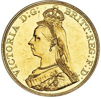 STUNNING GREAT BRITAIN 1887 VICTORIA GOLD 5 POUNDS / SOVEREI
