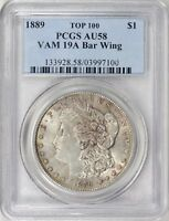 1889 MORGAN SILVER DOLLAR VAM-19A BAR WING PCGS AU-58