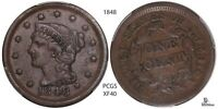 1848 PCGS BRAIDED HAIR LARGE CENT/PENNY EXTRA FINE 40 US COIN