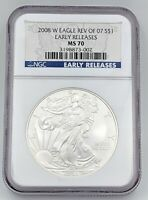 2008-W SILVER EAGLE BURNISHED NGC MS70 REVERSE OF 2007 BLUE EARLY RELEASES LABEL