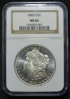 1880 S $1 MORGAN DOLLAR NGC CERTIFIED MINT STATE 64 U.S. SILVER COIN MINT STATE GEM