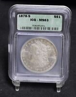 1878-S MORGAN DOLLAR - ICG MINT STATE 63 25900