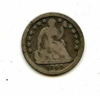 AVC- 1849-O SEATED LIBERTY HALF DIME G/VG