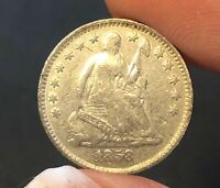 1858 U.S. HALF DIME TYPE COIN ATTRACTIVE CHOICE EXTRA FINE -AU SOME REV. LUSTER REMAINS