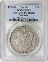 1900-O MORGAN SILVER DOLLAR VAM-29A DIE BREAK PCGS EXTRA FINE -45 CALIFORNIA COLLECTION