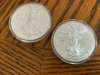 LOT OF 2 - AMERICAN SILVER EAGLE 1 OZ .999 SILVER COINS IN CAPSULES 2014