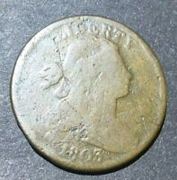 LARGE CENT 1C 1803 SMALL DATE LARGE FRACTION GOOD OLD MARKS