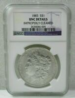 1883 MORGAN SILVER DOLLAR $1 NGC UNC DETAILS IMPROPERLY CLEANED